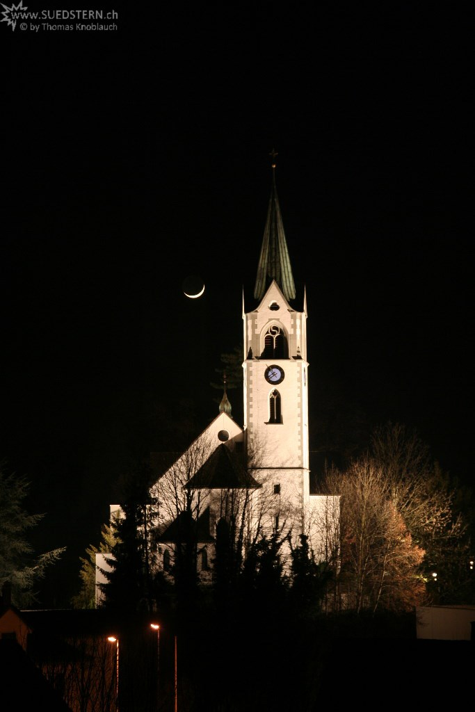 church with moon, jona