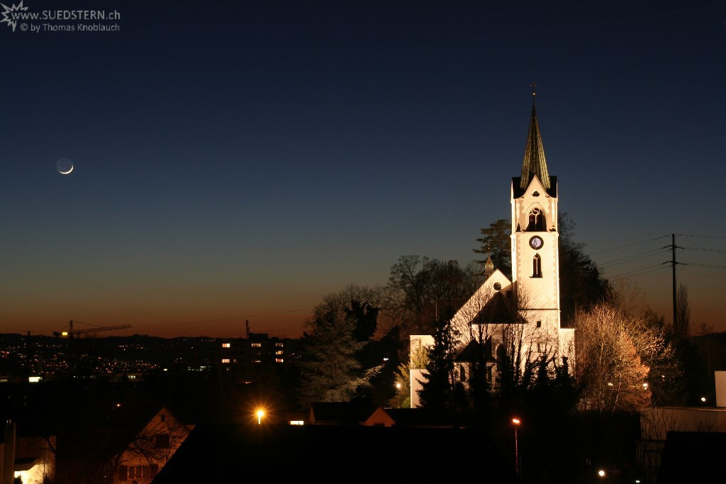 sundown with church, jona, switzerland