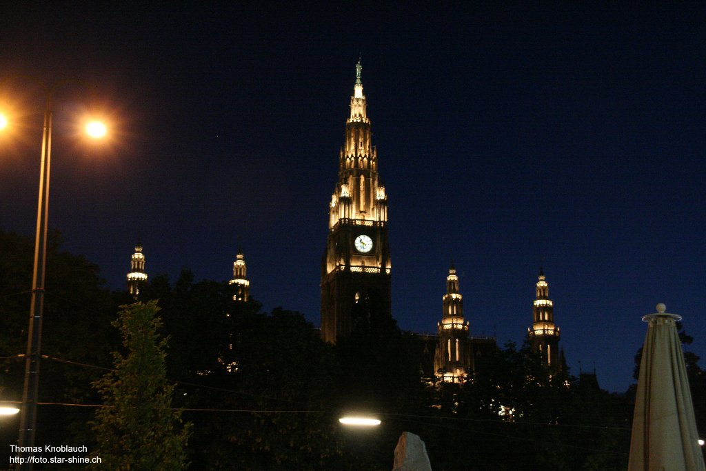 Vienna Rathaus at night, Austria