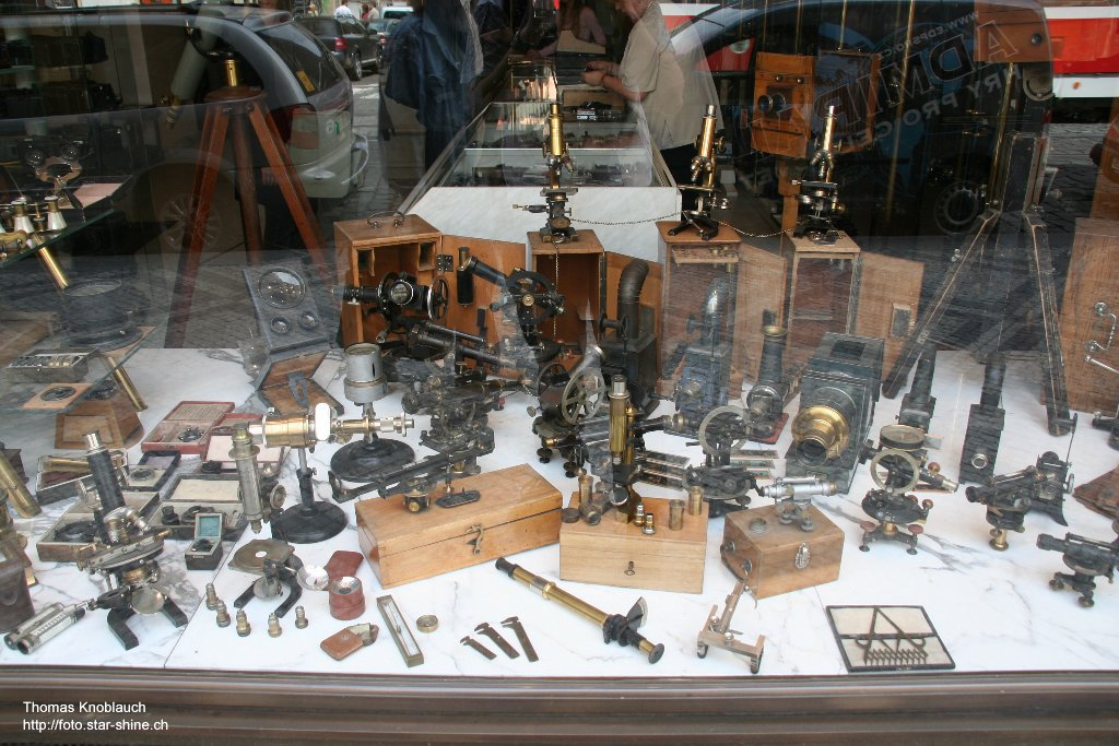 Showcase of an optician and camerashop, Prague, Czechia