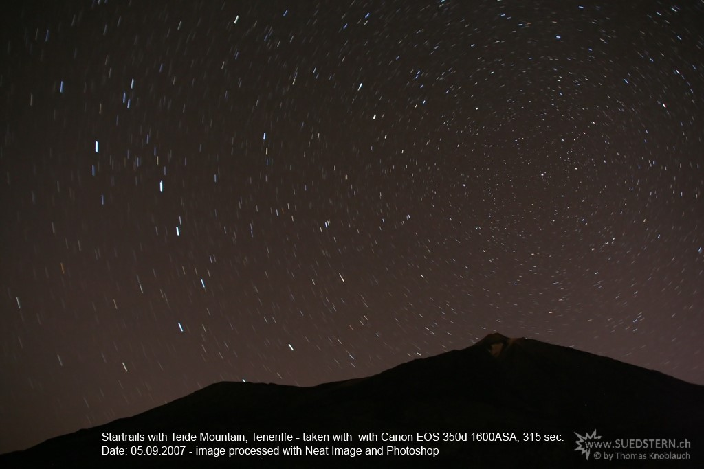 2007-09-05 - Startrails with Teide Mountain, Teneriffe