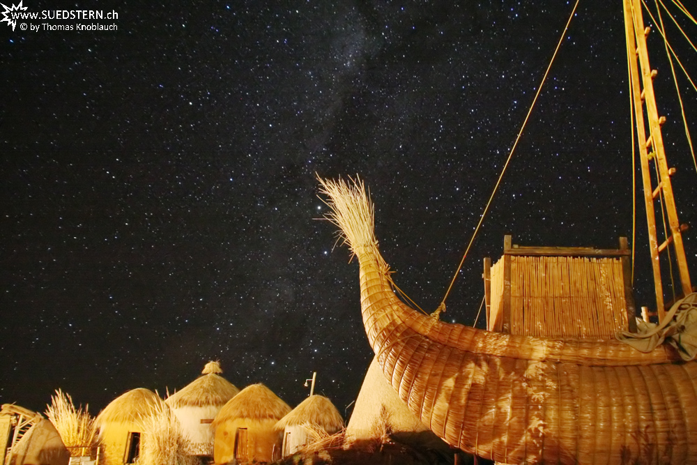 2010-08-12 - Milkyway with reed boat, lake Titicaca, Bolivia