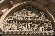 Sculptures above the entrance of tzhe Vysehrad curch, Prague, Czechia