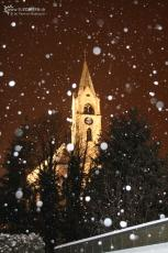 Church in Jona with snow flakes