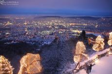 Christmas decoration with Zurich during dawn seen from Uetliberg, Switzerland